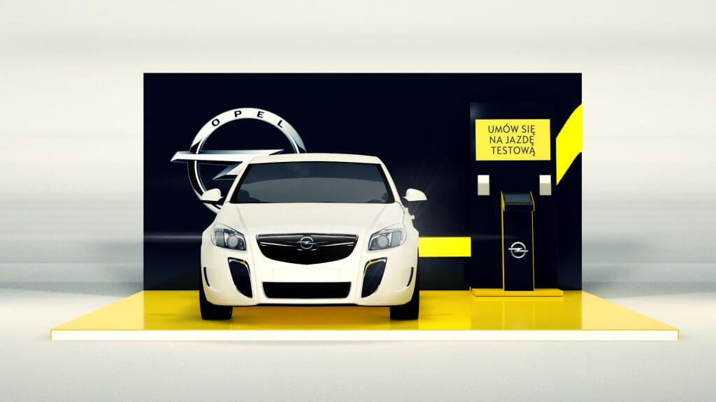 Opel - rejestracja jazdy testowej, stoisko na lotnisku