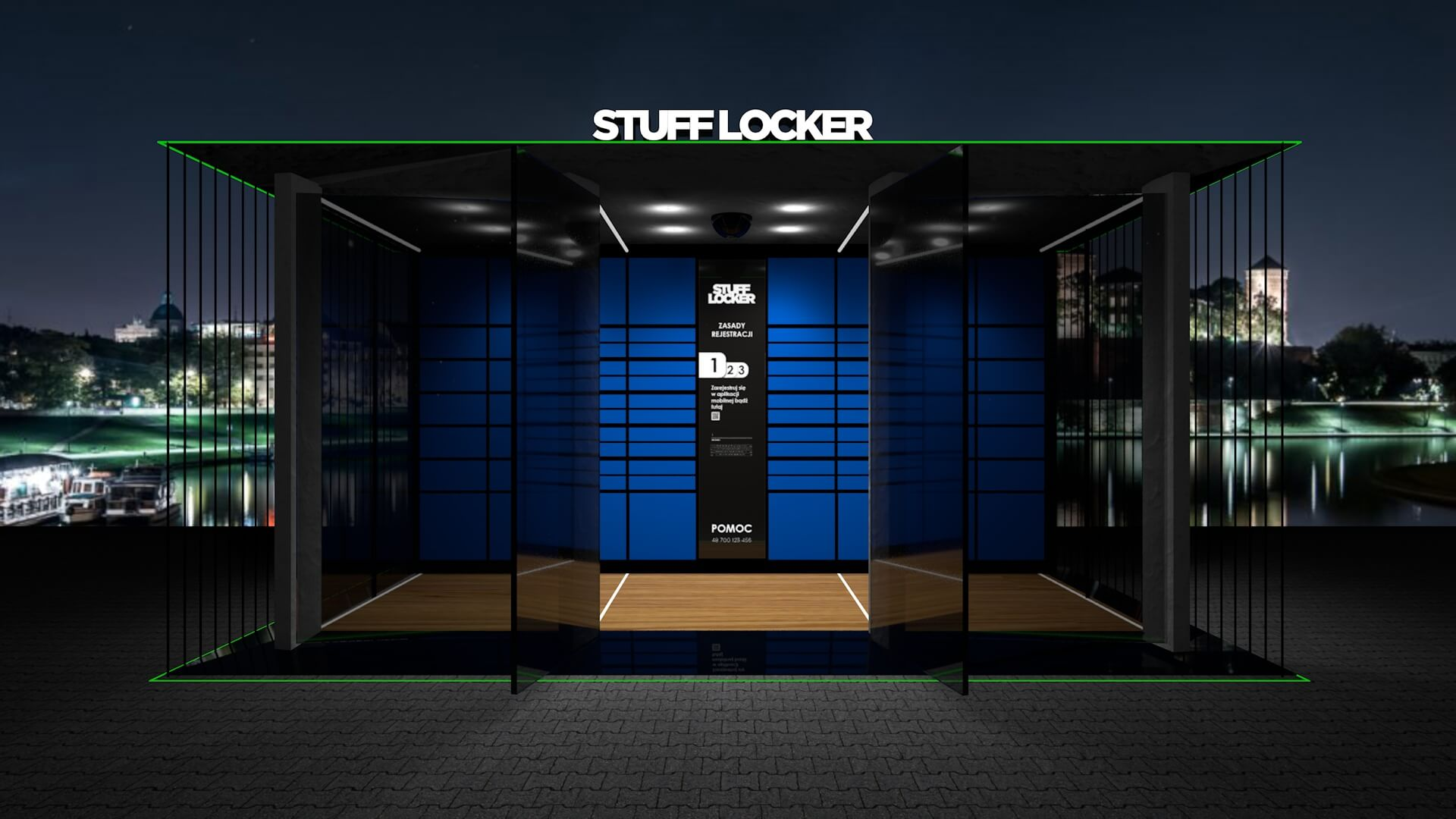 Wizualizacja 3D Stuff locker, skrytki premium