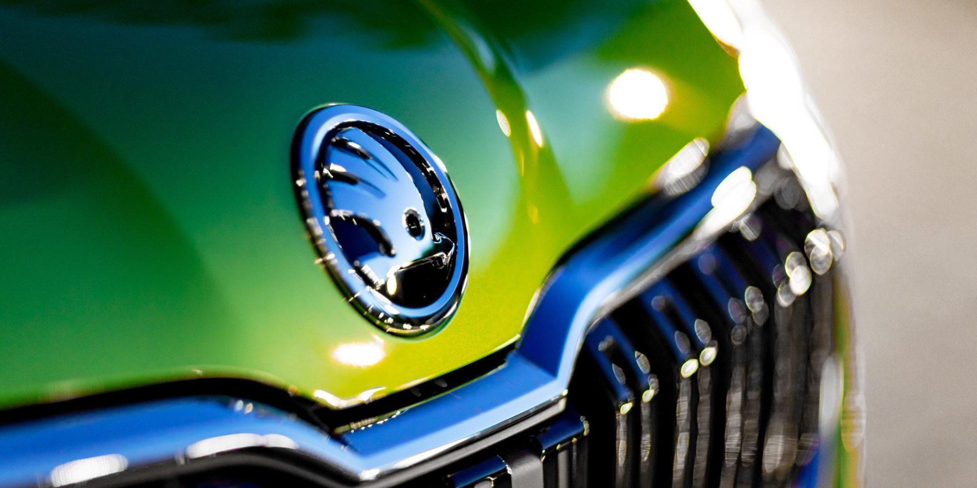 Maska samochodu Škoda Kamiq, zbliżenie na logo i grill